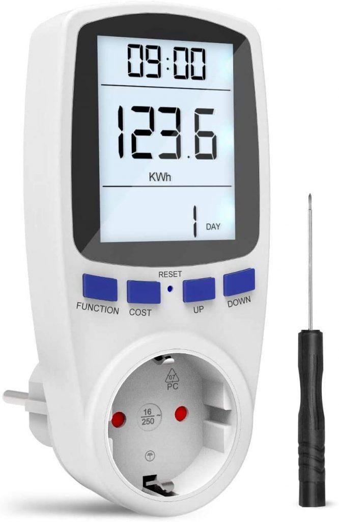 Medidor de consumo de corriente del medidor de energía, Medidor de Costo de Energía Medidor con pantalla LCD