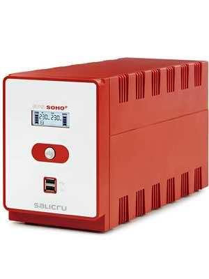 Salicru SPS 1200 Soho+ – Sistema de Alimentación Ininterrumpida (SAI/UPS) de 1200 VA Line-Interactive y con Doble Cargador USB, Rojo
