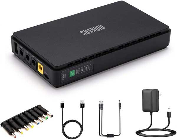 Sistema de Alimentación Ininterrumpida Mini UPS para WiFi, Enrutador, Módem, Cámara de Vigilancia con 10000mAH Batería Entrada DC/USB Salida 5V USB 5V 9V 12V 2A DC