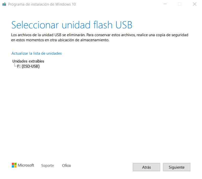 Crear pendrive de instalación de Windows 10